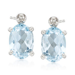 1.30 ct. t.w. Aquamarine Stud Earrings With Diamond Accents in 14kt White Gold, , default