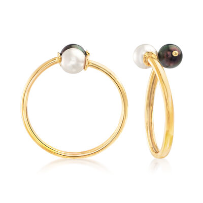 C. 1990 Vintage Assael 8mm Black and White Cultured Pearl Reversible Clip-On Earrings in 18kt Yellow Gold