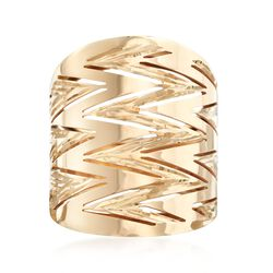 Italian 14kt Yellow Gold Diamond-Cut and Polished Zigzag Ring, , default