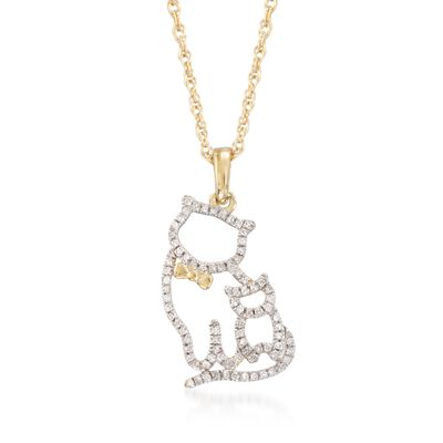 .12 ct. t.w. Diamond Cat Duo Pendant Necklace in 14kt Gold Over Sterling, , default