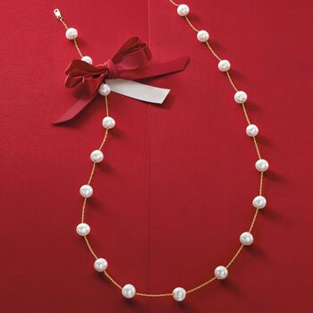 6-6.5mm Cultured Pearl Station Necklace in 14kt Yellow Gold, , default