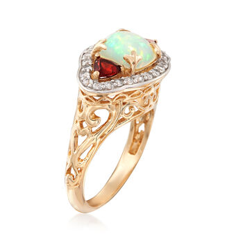 Opal and 1.20 ct. t.w. Multi-Stone Ring in 14kt Yellow Gold