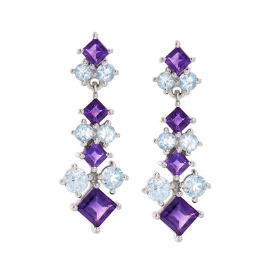 2.40 ct. t.w. Amethyst and 2.10 ct. t.w. Blue Topaz Drop Earrings in Sterling Silver