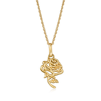 Child's Disney 14kt Yellow Gold Belle Rose Pendant Neklace, , default