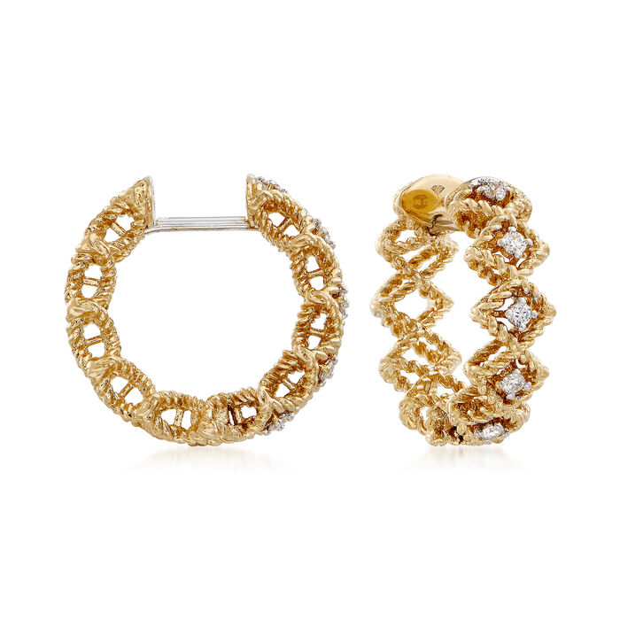 "Roberto Coin ""Barocco"" Diamond Hoop Earrings in 18kt Yellow Gold"