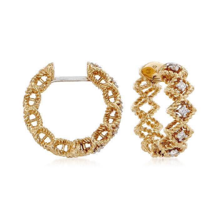 "Roberto Coin ""Barocco"" Diamond Hoop Earrings in 18kt Yellow Gold. 5/8"""