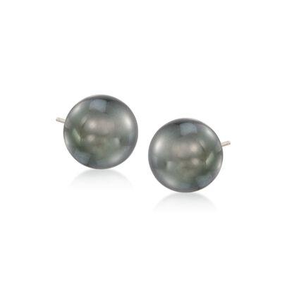 10-11mm Black Cultured Tahitian Pearl Earrings in 14kt White Gold, , default