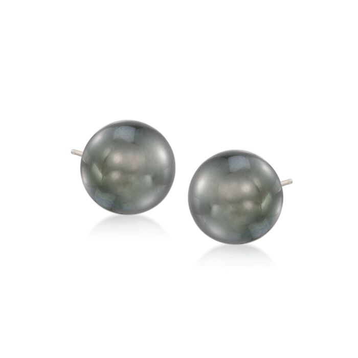 10-11mm Black Cultured Tahitian Pearl Earrings in 14kt White Gold , , default