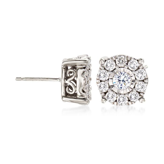 1.00 ct. t.w. Diamond Cluster Stud Earrings in 14kt White Gold