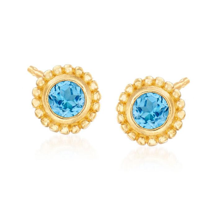 """Phillip Gavriel """"Popcorn"""" .60 ct. t.w. Blue Topaz Stud Earrings in 14kt Yellow Gold"""