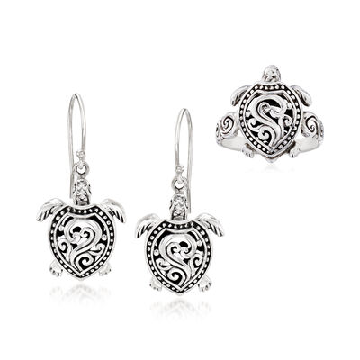 Sterling Silver Bali-Style Jewelry Set: Turtle Drop Earrings and Ring, , default