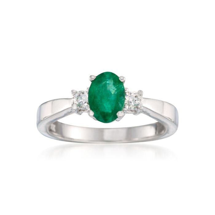 .40 Carat Emerald and .15 ct. t.w. Diamond Ring in 14kt White Gold