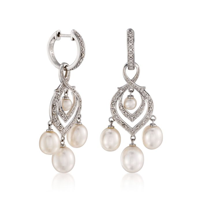 4-8.5mm Cultured Pearl and Diamond Chandelier Earrings with Removable Drops in Sterling Silver