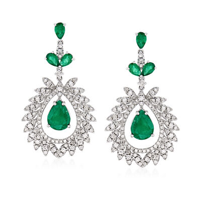 4.20 ct. t.w. Emerald and 1.50 ct. t.w. Diamond Drop Earrings in 18kt White Gold, , default