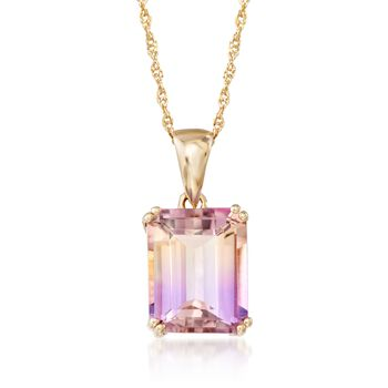 """3.00 Carat Ametrine Solitaire Necklace in 14kt Yellow Gold. 18"""", , default"""