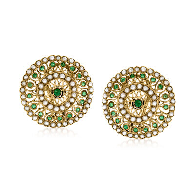 C. 1940 Vintage Seed Pearl and .85 ct. t.w. Emerald Circle Earrings in 5kt Yellow Gold