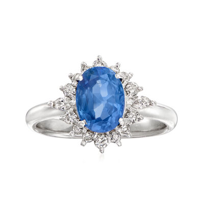 C. 1990 Vintage 1.80 Carat Certified Sapphire and .29 ct. t.w. Diamond Ring in Platinum