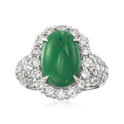 C. 1980 Vintage Jade and 1.90 ct. t.w. Diamond Ring in Platinum