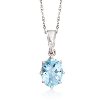 "1.10 Carat Aquamarine Solitaire Necklace in 14kt White Gold. 16"", , default"