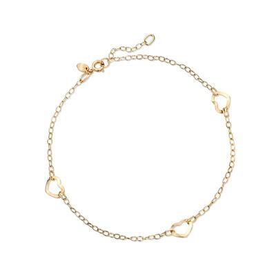 Italian 14kt Yellow Gold Open-Space Heart Station Anklet, , default