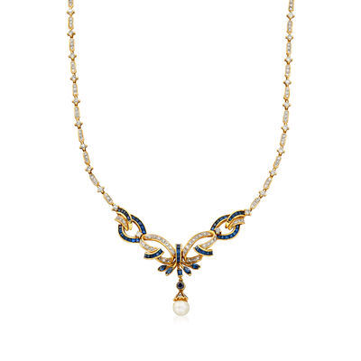 C. 1980 Vintage Cultured Pearl, 4.40 ct. t.w. Diamond and 3.90 ct. t.w. Sapphire Necklace in 18kt Yellow Gold