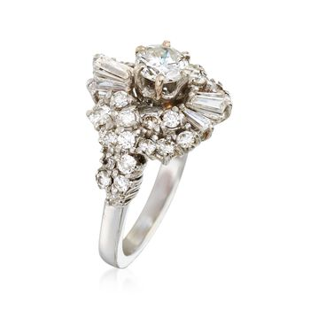 C. 1970 Vintage 2.00 ct. t.w. Diamond Cluster Ring in 18kt White Gold. Size 5, , default