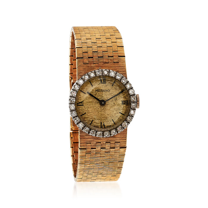 C. 1970 Vintage Women's 22mm Manual 18kt Yellow Gold Watch with .80 ct. t.w. Diamonds. Size 6.5, , default