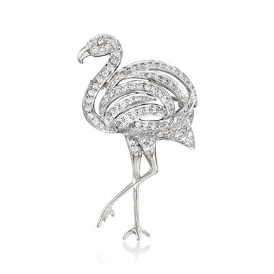 1.20 ct. t.w. CZ Flamingo Pin in Sterling Silver, , default