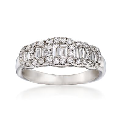 .66 ct. t.w. Baguette and Round Diamond Ring in 18kt White Gold, , default