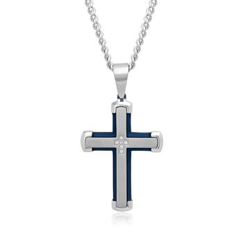 "Men's White and Blue Stainless Steel Cross Pendant Necklace With Diamond Accents. 24"", , default"