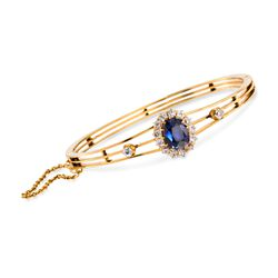 "C. 1900 Vintage 5.00 Carat Sapphire and 1.15 ct. t.w. Diamond Bangle Bracelet in 18kt Yellow Gold. 7"", , default"