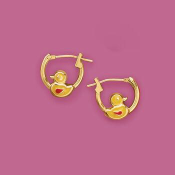 "Child's 14kt Yellow Gold Duckling Huggie Hoop Earrings with Enamel. 3/8"", , default"