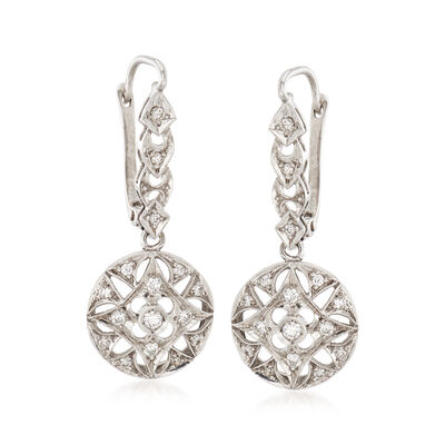 C. 1970 Vintage .50 ct. t.w. Diamond Circle Earrings in 18kt White Gold, , default