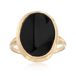 C. 1990 Vintage Black Onyx Ring in 14kt Yellow Gold, , default