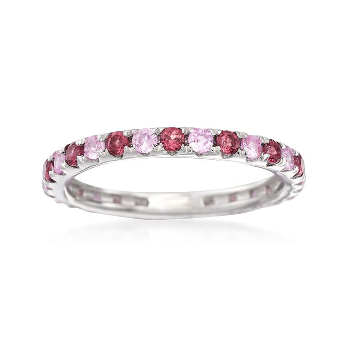 .60 ct. t.w. Rhodolite and .50 ct. t.w. Pink Sapphire Eternity Ring in Sterling Silver