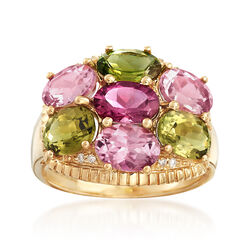 4.90 ct. t.w. Multicolored Tourmaline With Diamond Accents in 14kt Yellow Gold, , default