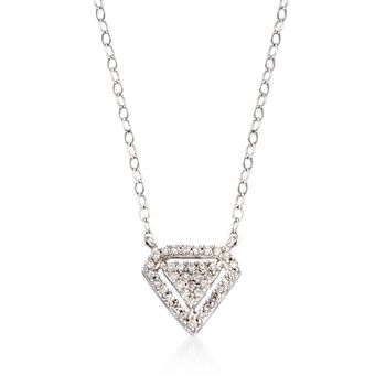 .11 ct. t.w. Diamond Triangle Drop Necklace in 14kt White Gold, , default