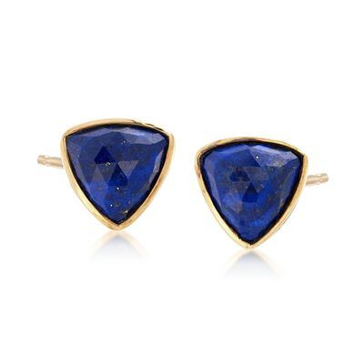 Lapis Triangle Earrings in 18kt Yellow Gold Over Sterling Silver, , default