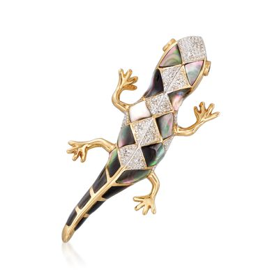 Multi-Stone Gecko Pin in 14kt Yellow Gold , , default