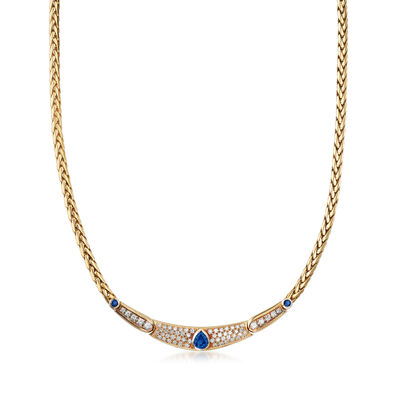 C. 1990 Vintage 2.00 ct. t.w. Sapphire and 1.75 ct. t.w. Diamond Necklace in 18kt Yellow Gold, , default