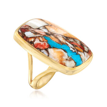 Mosaic Kingman Turquoise and Multicolored Shell Ring in 18kt Gold Over Sterling, , default