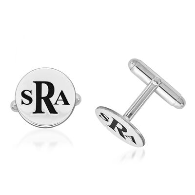 14kt White Gold Circle Monogram Cuff Links with Black Enamel