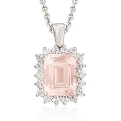 "3.00 Carat Morganite and .63 ct. t.w. Diamond Pendant Necklace in 14kt White Gold. 18"", , default"