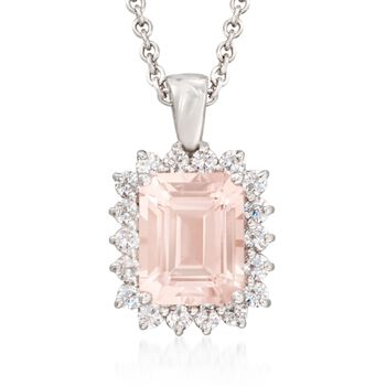 """3.00 Carat Morganite and .63 ct. t.w. Diamond Pendant Necklace in 14kt White Gold. 18"""", , default"""