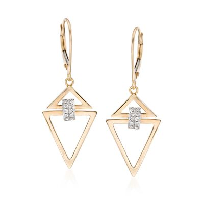 .10 ct. t.w. Diamond Open Triangle Drop Earrings in 14kt Two-Tone Gold, , default
