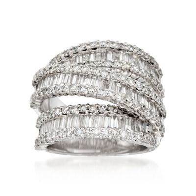 3.65 ct. t.w. Diamond Three-Row Crisscross Ring in 18kt White Gold