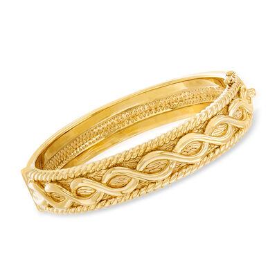 14kt Yellow Gold Multi-Motif Bangle Bracelet, , default