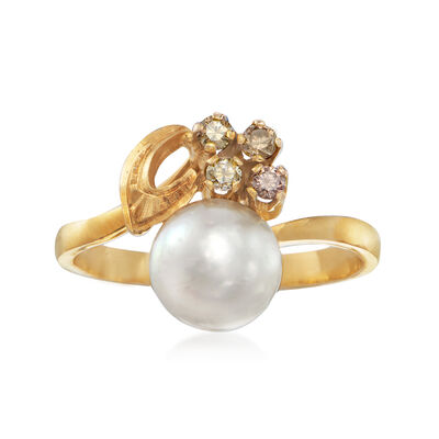 C. 1980 Vintage 7mm Cultured Pearl Ring and .12 ct. t.w. Pink and Cognac Diamond Cluster Ring in 14kt Yellow Gold