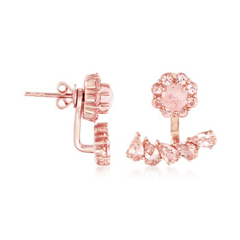 3.80 ct. t.w. Morganite Front-Back Earrings in 18kt Rose Gold Over Sterling