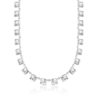 "Zina Sterling Silver ""Sahara"" Square Station Necklace"